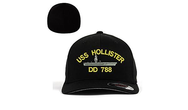 6e9b4275a8e4a Amazon.com  USS Hollister DD 788 Ship Flexfit Baseball Cap Military Hat  Black  Sports   Outdoors