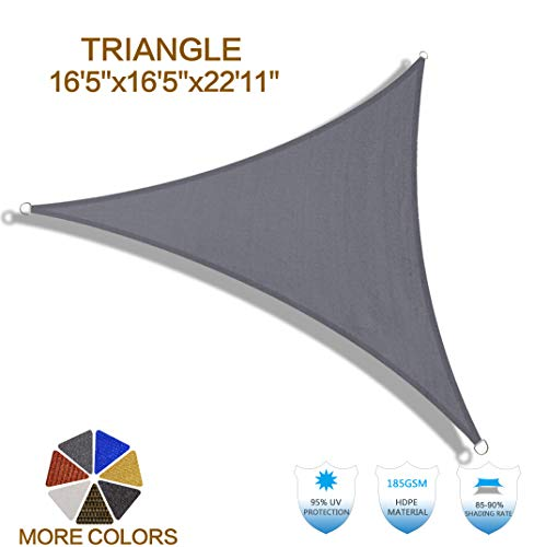 HENG FENG 16'5''x16'5''x22'11'' Charcoal Triangle Sun Shade Sail UV Block for Patio Deck Yard and Outdoor