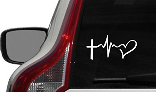Cross Heartbeat Heart Car Vinyl Sticker Decal Bumper Sticker for Auto Cars Trucks Windshield Custom Walls Windows Ipad Macbook Laptop and More -
