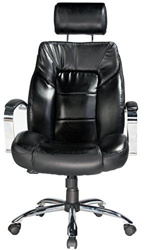 046854158009 - Comfort Products 60-5800T Commodore II Oversize Leather Chair with Adjustable Headrest, Black carousel main 5