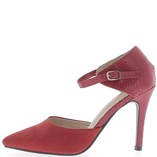 Escarpins ouverts rouges à talons de 10 cm pointus aspect daim et croco