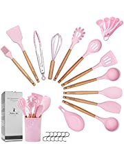 ZCOINS 18+6 PC Silicone Cooking Utensils Set with Wooden Handles & Holder Kitchen Gadgets Kitchen Utensil Set, Pink Collection