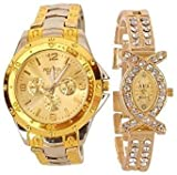 FAAS Analogue Gold Dial Men's And Women's Watch (Couple Watch)