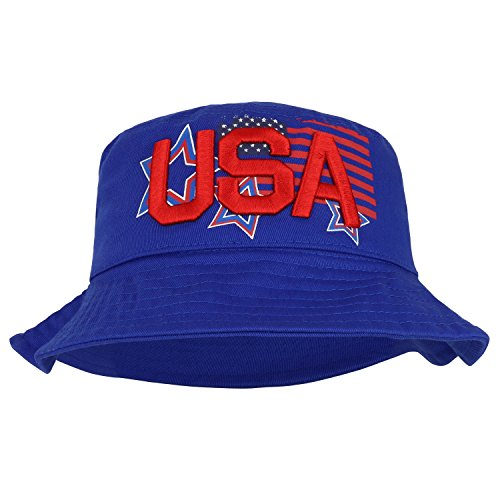 Trendy Apparel Shop USA Text 3D Embroidered Star Flag Printed Cotton Bucket Hat - Blue - LXL