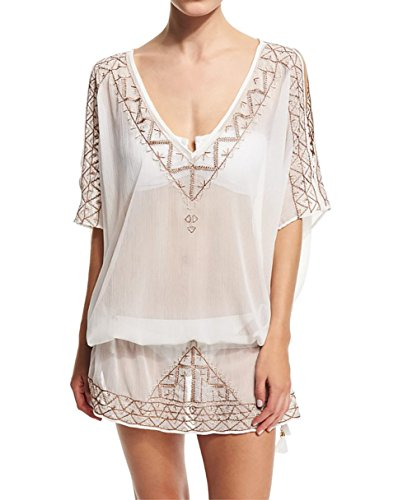 Bestyou Women's Embroideried Lace-up Swimsuit Cover up Tunic Tops Blouses US Size XS-M (White 2)