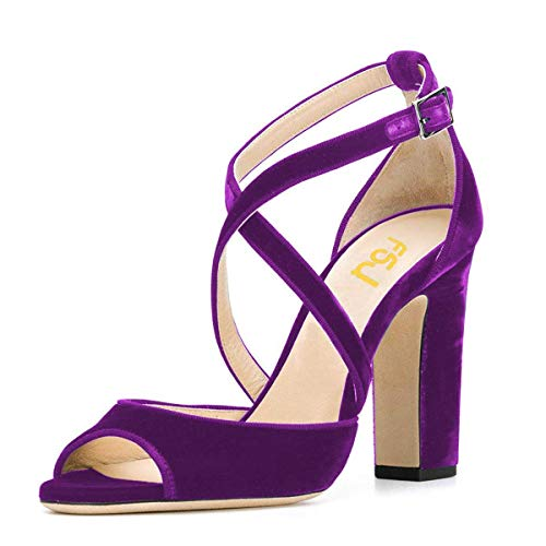 (FSJ Women Elegant Peep Toe Cross Strap Sandals Chunky Heels Velvet Office Dress Shoes Size 8.5 Purple)