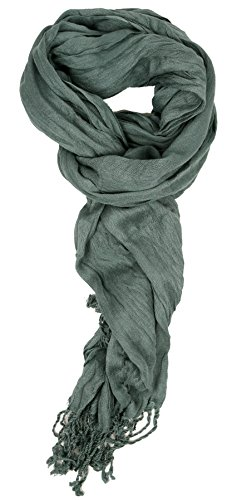 Love Lakeside-Women's Must Have Solid Color Crinkle Scarf Denim
