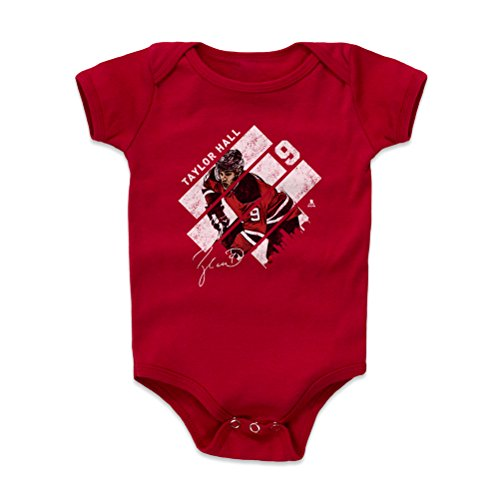 500 LEVEL Taylor Hall New Jersey Devils Baby Clothes, Onesie, Creeper, Bodysuit (12-18 Months, Red) - Taylor Hall Stripes W WHT