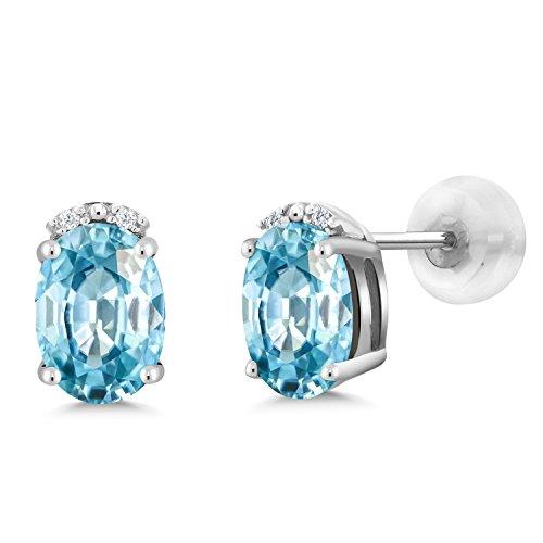 2.43 Ct Oval Blue Zircon White Diamond 10K White Gold Earrings - 10k Zircon Earrings