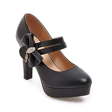 BalaMasa Womens APL12251 Light-Weight Comfort Spikes-Stilettos Black Pu Heeled Sandals - 2 UK (Lable:33)