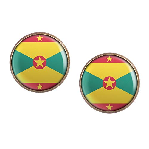 Stud Earring Pair with Cabochon Picture Grenada St. George's flag bronze 0.63 inch