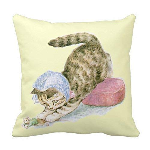 CardlyPhCardH Throw Pillowcase Soft Eco-Friendly Beatrix Potter Miss Moppet Pillow 18 x 18 inches,Sweet Non-Toxic Design