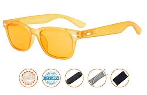 Anti Blue Rays,Reduce Eyestrain,UV Protection Computer Gamer Readers Eyeglasses Men Women(Matte Yellow Frame,Dark Orange - Essentials Eyeglass Frames