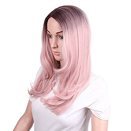 netgo Women's Ombre Pink Wigs Long Wavy Heat Resistant Synthetic Wigs for Costume Party Cosplay by Netgo