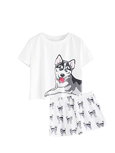 DIDK Women's Cute Cartoon Print Tee and Shorts