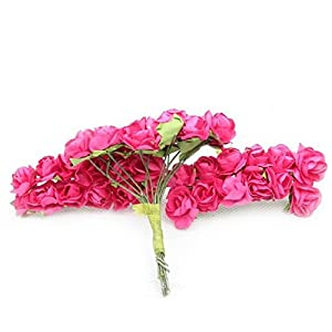 www.embellishmentworld.com Mulberry Paper Flower Bouquet/Wire Stem/Scrapbooking Artificial Rose Flowers 28