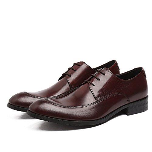 Lyzgf Mannen Gentleman Business Casual Mode Banket Spirited Wees Veter Leren Schoenen Bruin