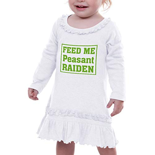 Cute Rascals Feed Me Peasant Raiden Taped Neck Toddler Girl Ruffle Cotton Long Sleeve Sunflower Dress - White, 12 Months