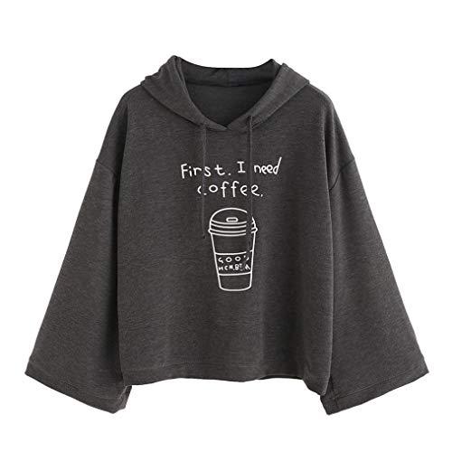 Spbamboo Women 2018 Long Sleeve Letter Print Hooded Loose Sweatshirt Pullover by Spbamboo