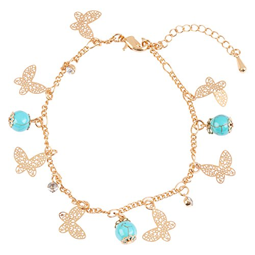 24K Gold Rhinestone Butterfly Charm & Bead Fashion Women's Chain Bracelet and Anklet