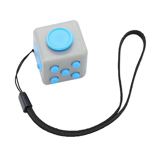 Novelty Keychain, FTXJ Fun 6 Sided Fidget Cube Dice Adults Anxiety Stress Relief Toy (D) - Cube Chain