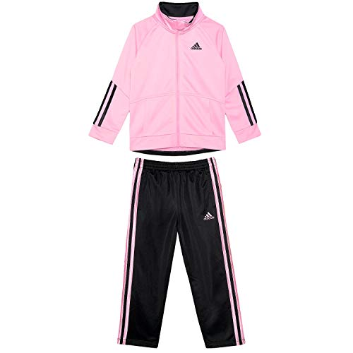 15fa55583e adidas Girls Tricot Zip Jacket and Pant Set (2T, Pink/Black)