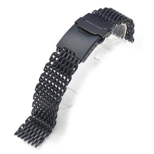 "18mm Ploprof 316 Reform Stainless Steel ""SHARK"" Mesh Milanese Watch Band, Black, AB"