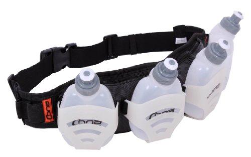 CONA TRAILBELT - One Size - Laufgürtel, Bauchtasche, Hip Pack mit 4 Trinkflaschen und 2 Staufächern, Farbe: schwarz