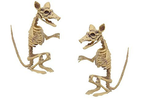 Rat Skeleton Halloween Prop Decoration Haunted House Party Decor Set Standing Movable Neck Jaw Plastic 2 pack]()