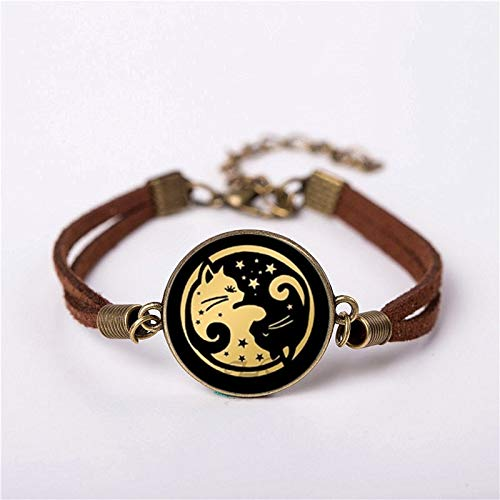 SaveStore Bracelet Jap Japanese Korean Chinese Yingyang Men Vintage Brass Bracelets Women Gift Friend Ship ()