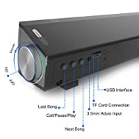 Dansrue Multifunctional Sound Bar Speakers for TV /Tablet PC/ Laptop/ iPhone / iPad / Portable Audio Players, 2017 Stereo Computer Speaker with Bluetooth Wireless & USB Powered (Black 01) by Dansrue