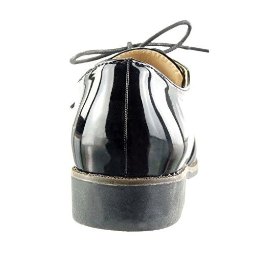 Scarpe Tacco Scarpe Nero Impunture Materiale 5 Brogue Finitura Donna Blocco Moda cm Lucide bi a Angkorly Cuciture 2 PHxdqPE