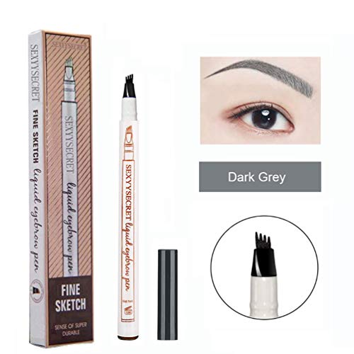 Microblading Eyebrow Pencil Tattoo Brow Ink Pen Waterproof Long Lasting Smudge-Proof Eyebrow Tattoo Pen with Micro-Fork Tip Eyes Makeup (Dark Grey)
