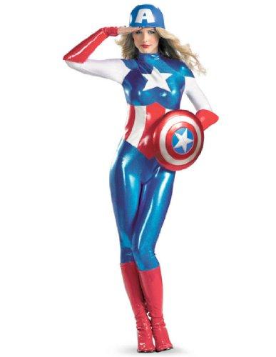 [Disguise Marvel Captain America American Dream Bodysuit Womens Adult Costume, Red/White/Blue,] (Female Bodysuit Costumes)