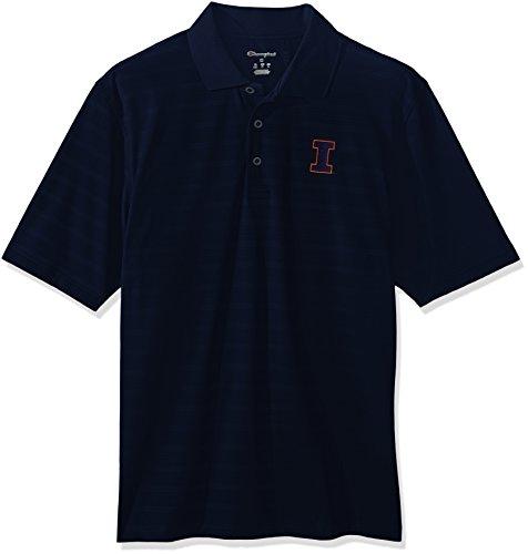 Illinois Tailgate Golf (NCAA Illinois Illini Men's Textured Solid Polo, Large, Navy)