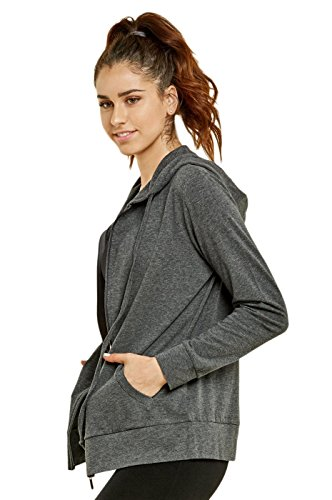Sofra Teejoy Women's Thin Cotton Zip Up Hoodie Jacket (Large, Black/CharcoalGrey) by Sofra (Image #2)