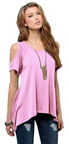 (Urban CoCo Women's Vogue Shoulder Off Wide Hem Design Top Shirt - X-Large - Baby Pink)