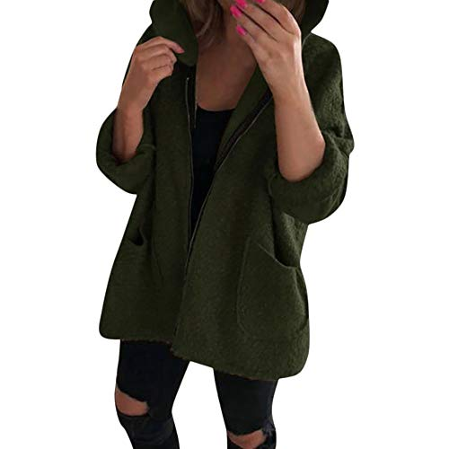 Sanyyanlsy Ladies Fashion Hoodie Cardigan Long Sleeve Zipper Pullover Shaggy Plush Thin Coat Tops Sweatshirt for Women Army Green (Best Soccer Websites To Shop)