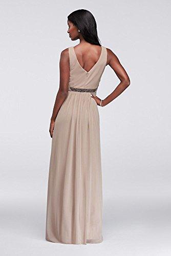 and Beaded Neck V Bridal with Dress Waistband Style Mesh David's Apple W11092 Bridesmaid Long xBURzqg