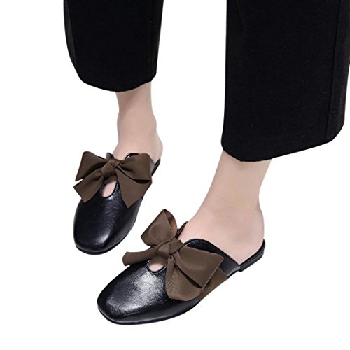 Shallow Black Women TM Wild Bottom Vintage DEESEE Soft Bowknot Slippers Lace up zPwRn6q