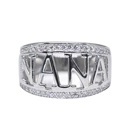 (SMALLE◕‿◕ ◕‿◕ Clearance,Exquisite Nana Ring Cubic Zirconia Diamond Nana Birthday Present)