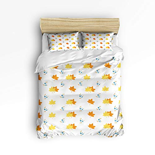 YEHO Art Gallery Twin Size Cute 3 Piece Duvet Cover Sets Soft Bed Sets for Kids Boys Girls,Yellow Maple Pattern,Bedding Set Include 1 Comforter Cover with 2 Pillow - Bed Maple Size Bunk Twin