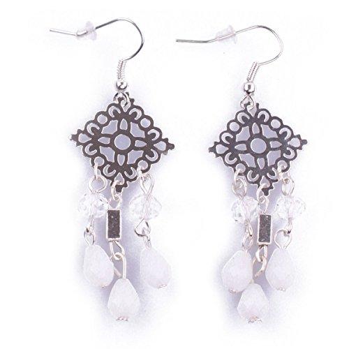 Boucles d'oreilles Losanges fleuris argent perles blanches Coindesfilles