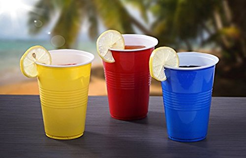 TashiBox 16 oz Assorted Colors Disposable Hot and Cold Plastic Cups, 16oz-150, Red/Blue/Yellow