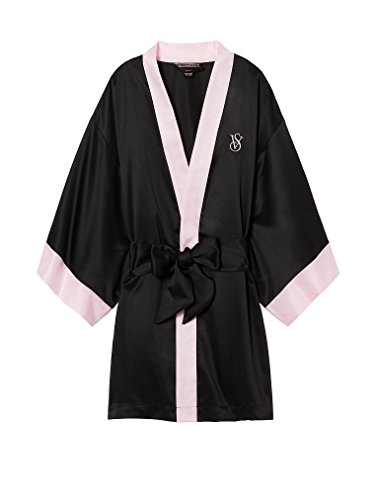 Victoria's Secret Very Sexy Colorblock Black and Pink Satin Short Kimono Robe With Monogram Embroidery - One Size