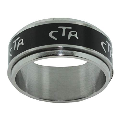 One Moment In Time Wide Antique Black - Stainless Steel - Spinner CTR Ring - J38B (13.5)