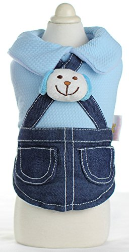 MaruPet Dog Sugar-loaf Warm Popular Two Pieces of Clothes Leisure Cowboy Clothing Very Soft Cute The Latest Version Pet Cloth Thicken Sweet Cartoon Blue L