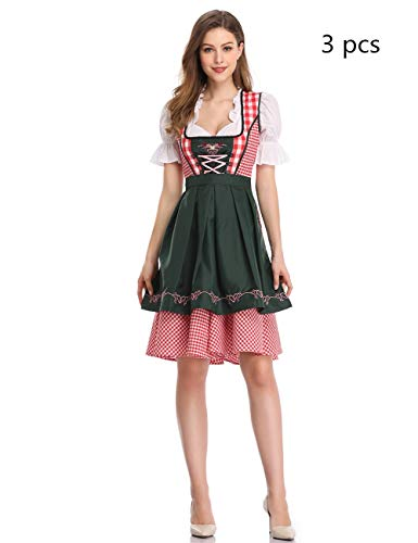 GloryStar Women's German Dirndl Dress Costumes for Bavarian Oktoberfest Carnival Halloween (XL, Red/Green)