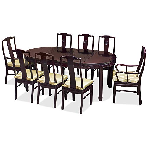 ChinaFurnitureOnline 80in Rosewood Longevity Design Oval Dining Table with 8 Chairs - Dark Cherry