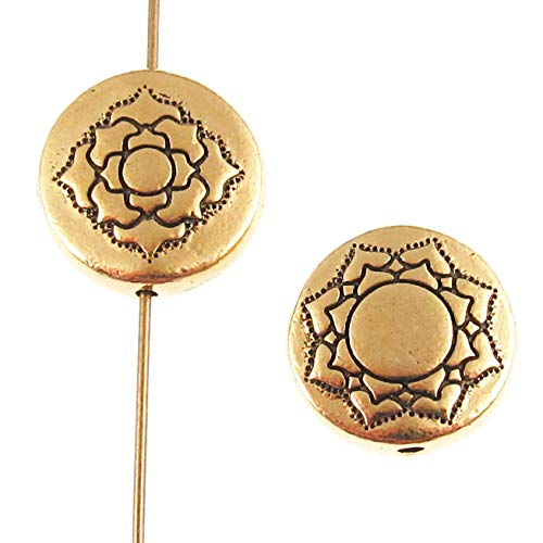 (Gold Lotus Puffed Coin Beads, TierraCast Pewter Flower 14mm (2 Pieces))